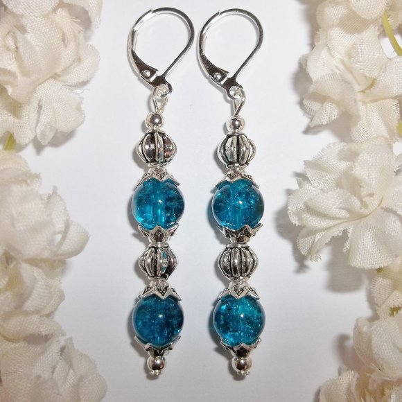 Dark Turquoise Blue Long Earrings Beaded Set 5642